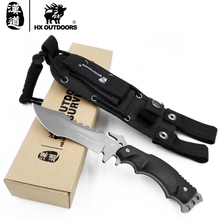 HX OUTDOORS survival knife army hunting hand tools high hardness 440C straight knives Surface titanium cold steel camping knife(China)