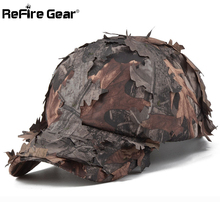 ReFire Gear Men's Camouflage Cap Jungle Leaves Conceal Camo Baseball Cap Quick Dry Combat Snapback Hat Tactical Army Sniper Caps(China)