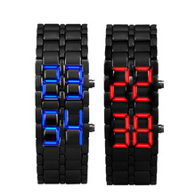 Relogio Masculino 2017 New Arrival WATCH Men 2x Lava Style Iron Samurai Black Bracelet LED Digital-watch square-male-watch Gift(China)