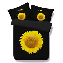 JF109 Simple Luxury Style Pure Black fabric with yellow sunflower print comforter set queen king size bed in a bag bedding sets