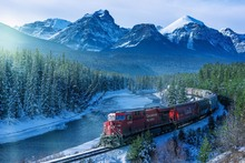 Canada landscape train snowy mountain forest TFJ045 wall art fabric poster print (frame available)for room decoration home decor
