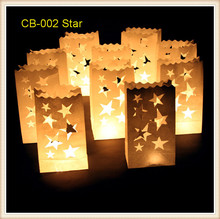 30pcs/lot star design white Luminaria paper candle bags lantern for party wedding decorations  9*15*26cm  free shipping