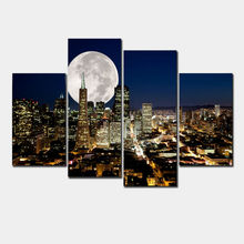 Fashion HD Large Canvas painting 4 Panels Home Decor Wall Art Picture Prints of New York City Night View(China)
