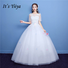 Buy It's YiiYa White Popular O-Neck Short Sleeve Wedding Frock Appliques Embroidery Crystal Beading Plus Size Wedding Gowns D01 for $52.25 in AliExpress store