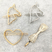 Timlee H047 Free shipping Vintage Hairpins Unicorn Bowknot Heart Metal Hair Clip hair accessory wholesale
