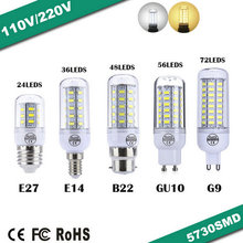 New E27/E14/G9/GU10/B22 LED lamp 9W 12W 15W 20W 25W SMD 5730 led light 220V/110V Chandelier LEDs Candle bulb Spotlight luminaria