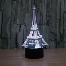 New 2017 3D Visual Eiffel Tower LED Lights Seven Color Change Bedroom light edroom Small Desk Lamp Souvenir(China)
