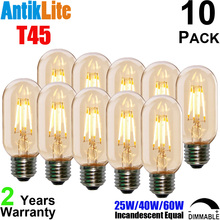 20W 40W 60W 80W Incandescent Equal T45 E27 2200 Kelvin Sunset Warm White Antique Edison Style Vintage LED Filament Bulb T14 E26(China)