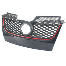For VW JETTA MK5 GTI 2006 2007 2008 2009 Black Front Main Upper Hex Mesh Bumper Center Grill Grilles w/ Red Trim D10(China)