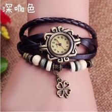 2016 Sale New Retro Trend Tables Bracelet Female Models Clover Watch Leather Fashion Watchwatches Christmas Gift Free Shipping(China)