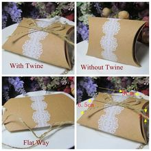 (100 Pieces/Lot) Unique Lace Candy box of Kraft Pillow favor box for Wedding and Party decoration gift box with lace design(China)