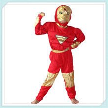 Free shipping 2-8 years Party Kids Comic Marvel Iron Man Muscle Halloween Costume,boy Roll play clothing C-35(China)