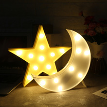 Moon/Star Shape LED Night Light Battery Powered Decoration Light Plastic Switch LED Bedroom/Baby/Kids Lamp White/Yellow Optional