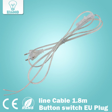 0,75mm2 line Cable 1.8m On Off Power Cord For LED Lamp with Button switch EU/US Plug Light Switching Transparent Wire Extension