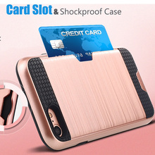 Premium Luxury Slim Hard PC Shockproof Armor Silicone Covers for fundas iPhone7 iPhone 6s 7 8 Plus Wallet Card Holder Slots Case