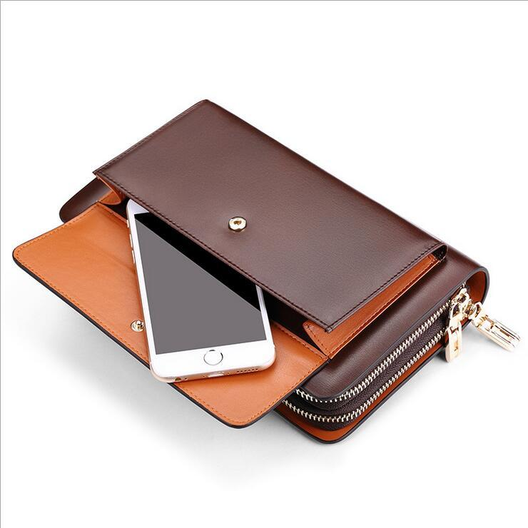 Men Genuine Real Leather High Quality Clutch Handy Money Bag Long Purse Business Cell Mobile iPhone Wallet Good New Hot Zipper<br>