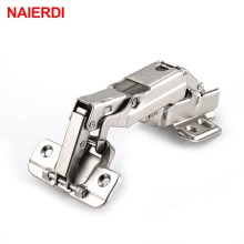 NAIERDI 175 Degree Hydraulic Buffer Hinge Rustless Iron Buffer Soft Close Cabinet Cupboard Door Hinges For Furniture Hardware
