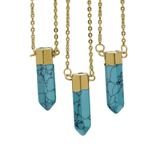 SEDmart Gold Color Natural Stone  Pendant Necklace For Women Bullet Shape Necklaces Jewelry Colar Feminino