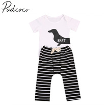 Pudcoco 2Pcs Newborn Fashion Hot New Casual Best Friend Toddler Baby Boy Girl Clothes Romper Tops+Striped Pants Outfits Set6-24M