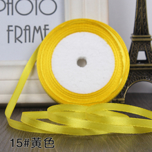 "22m/lot 1/4""(6mm) (25 yards/roll) Yellow golden Single Face Satin Ribbon Gift Wrapping Christmas ribbons Sewing Fabric Hand DIY"