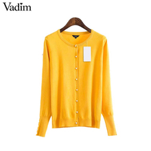 Vadim women chic cuff pearls cardigan sweater long sleeve elastic knitted basic autumn winter female casual wear tops SW1272(China)