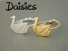 Daisies One Piece Origami Paper Crane Ring Bijoux Origami Swan Ring Statement Jewelry for Women Open Finger Ring