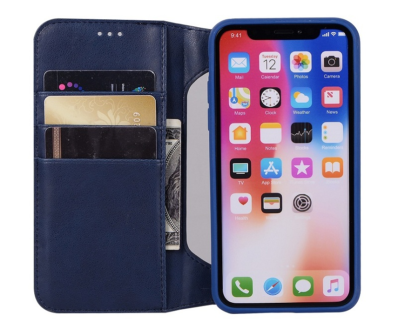 blue genuine leather flip case for iPhone x luxury girls men card cover