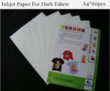 (A4 Paper*60pcs) Dark Inkjet Heat Transfer Cotton Paper For T shirts Thermal Transfer Papel For Fabric Papier Transfert HTW-300(China)