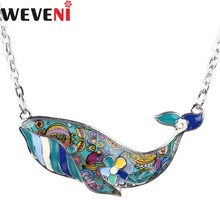 WEVENI Statement Maxi Enamel Whale Choker Necklace For Women Pendants Collar Fashion Girl Accessories OCEAN COLLECTION Jewelry(China)