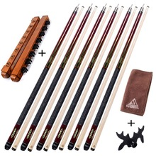 CUESOUL G207X6 6 Pieces Pool Cue With Cue Bridge Head and Cue Towel,8 Cue Stick Pool Table Billiard Wall Rack For House Bar