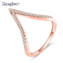 Beagloer Brand Latest Trendy V Shape Design Ring for Women Rose Gold Color Cubic Zirconia Rings Popular Jewelry CRI1039