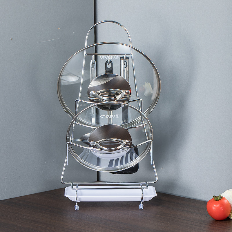 Pot Lid Rack Multifunction Wall Mounted Stainless Steel-Chrome Finish