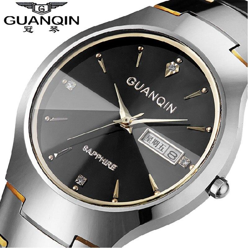 Top Fashion Quartz Watch Guanqin Watches men luxury brand Tungsten Steel waterproof gold silver wristwatch relogio masculino<br>
