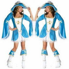 Sexy Deluxe Blue & White Madam Musketeer Halloween Costume Pirates Costumes Fancy Dress Pirates of the Caribbean cosplay costume