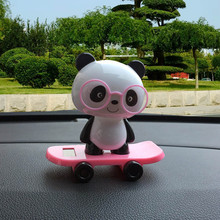 Solar Powered Dancing Panda Animal Swinging Animated Bobble Dancer Toy Car Decor(China)