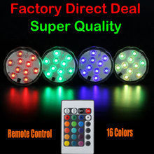 Super Quality 10 SMD5050 LED Multi Color Submersible Waterproof Wedding Party Vase Base Light With 24 Keys Remote control
