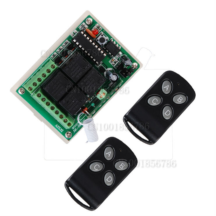 DC12V 4 Relay CH Wireless Receiver&amp;Transmitter Momentary Toggle Latched RF Remote Control Switch System LED SMD ON OFF<br><br>Aliexpress