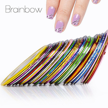 Brainbow 10pcs/Pack 10 Multi Color Striping Tape Line Metal Rolls 20m/pc Nail Art Decoration Sticker Striping Tape DIY Nail Tips