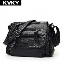 KVKY Brand Fashion Soft Leather Shoulder Bags Female Crossbody Bag Portable Women Messenger Bag Tote Ladies Handbag Bolsas