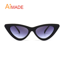 Aimade 2018 Fashion Clear Lens Small Cat Eye Sunglasses Women Vintage Black White Triangle Cateye Sun Glasses For Female UV400(China)