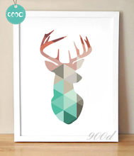 Geometric Coral Deer Head Canvas Art Print Poster, Mint Deer Wall Pictures for Home Decoration, Wall Art Decor FA237-13(China)