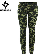 2019 Youaxon Women`s S-XXXXXL Plus Size Chic Camo Army Green Skinny Jeans For Women Femme Camouflage Cropped Pencil Pants(China)