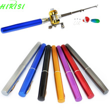 1 x Pen fishing rod set Pocket Fishing rod mini aluminum alloy fish pen fishing rod pole(China)