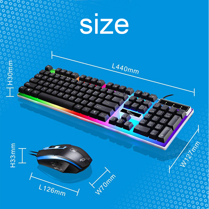 2019 Parasolant Wired Usb Led Light Keyboard And Mouse Set