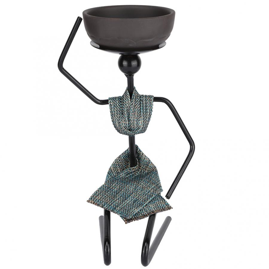 Candle Holder Classical Carved African Woman Shape Candlestick Iron Candle Holder Home Ornament Black