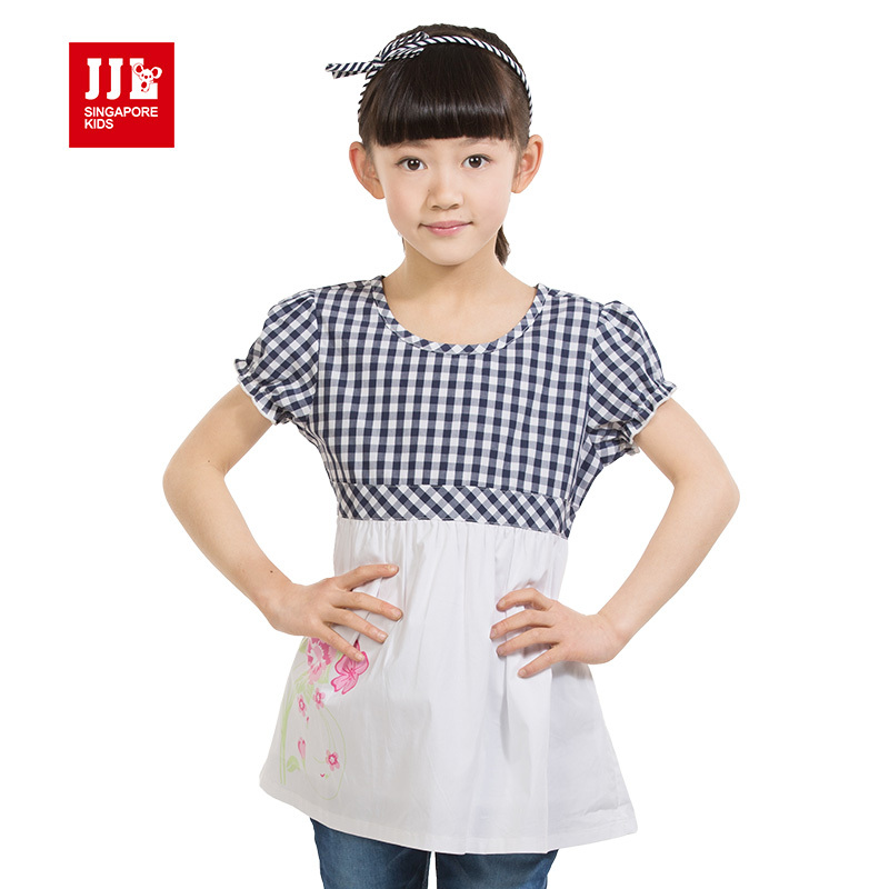 2015 news babys girls sweet dress kids korea styles dress childrens lovely one piece clothes girls summers  design size 4-11y<br><br>Aliexpress