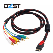 DZLST HDMI to 5 RCA Male to Male cable AV CVBS Audio Video Cable Cord Converter Component Convert Cable 1.5M For HDTV 1080p 5FT