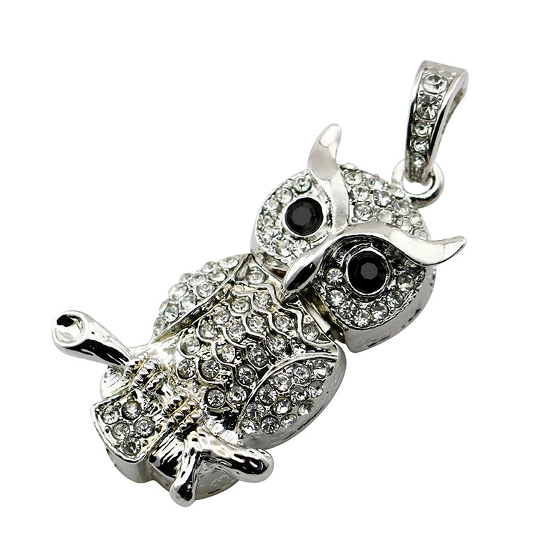 Animal USB Flash Drive Metal Diamond Owl Pendrive Nighthawk Pen Drive 4GB 8GB 16GB 32GB 64GB USB Memory Stick Gift With Necklace 20