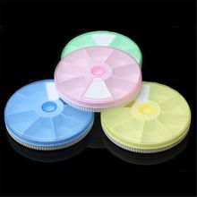 Round Outdoor Travel Pill Cases Portable 7-Day Rotating Medicine Box Tablet Dispenser Storage Container Cute Candy Color
