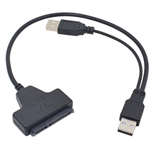 New Arrival USB 2.0 to 7+15 22Pin SATA 3.0 Cable Adapter Converter For HDD Hard Disk Drive With USB Power Cable